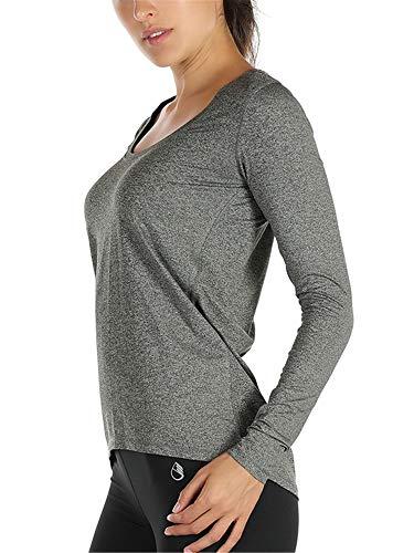 icyzone Damen Laufshirt Langarm Sport Shirt Funktionsshirt - Atmungsaktive Shirt Longsleeve Tops Fitness Workout Oberteil mit Daumenloch (L, Dunkelgrau)