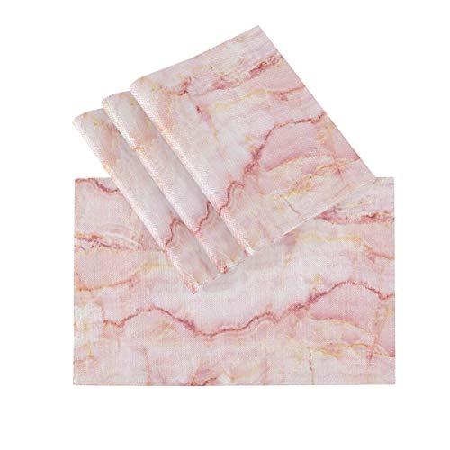 Juego de 4 manteles individuales, manteles individuales lavables con aislamiento térmico, textura...
