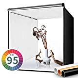 FOSITAN Fotostudio Lichtzelt 60x60x60cm Faltbare Studiobox Lichtwürfel mit 3 Hintergründe (weiß,...