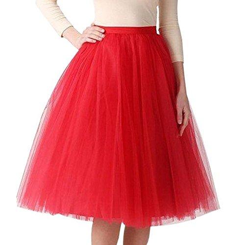 iYmitz Karneval Mode Damen Plissee Gaze Knielangen Rocks Erwachsene Tutu Tanzen Abendrock Reifrock Strandkleider Kleids(roto,One Size)