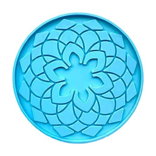 Molde de resina epoxi con diseño de mandala y posavasos de silicona