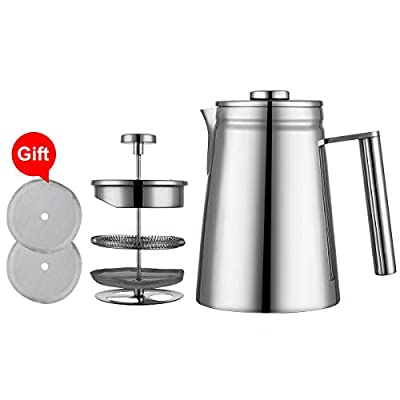 MIULY Cafetiere 28oz/6 Cup French Press Stainless Steel Double Wall Coffee Maker with 2 Filter Screen (800ml Silver)