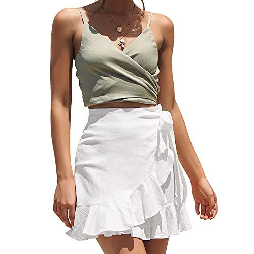 ChainJoy Womens High Waist Ruffle Hem Tie Wrap Skirt Summer Casual A Line Overlap Skirt White XX-Large