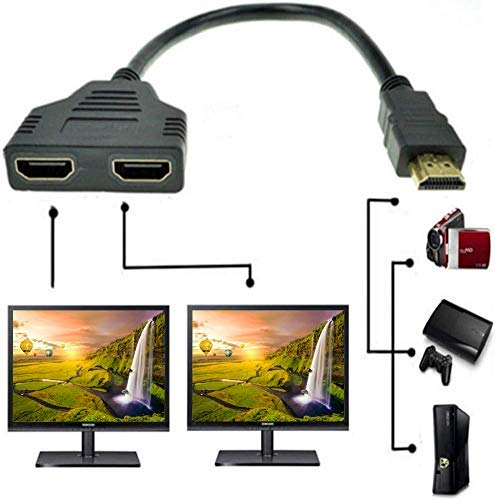 HDMI Male to Dual HDMI Female 1 to 2 Way HDMI Splitter Adapter Cable for HDTV, LED, LCD, TV, Signal...