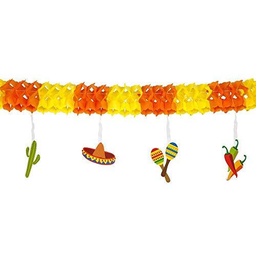 Boland 54402 - Girlande Fiesta, Länge 4 m, Mexiko, Papiergirlande, Hängedekoration, Dekoration, Motto Party, Karneval