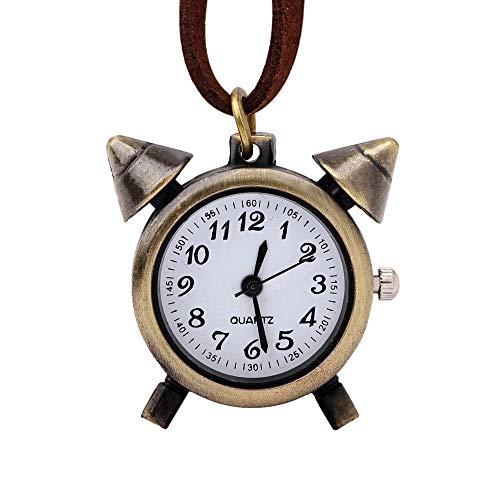Taschenuhr, Retro-Taschenuhr, Kleine Wecker-Taschenuhr, Bronze Runde Halskette-Taschenuhr