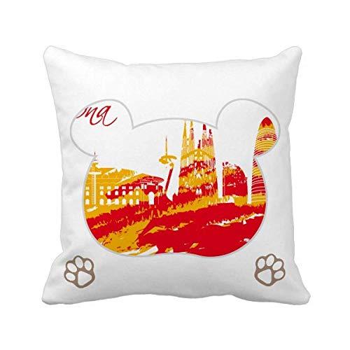 City Outline - Funda cuadrada para cojín (diseño de oso de Barcelona), color rojo
