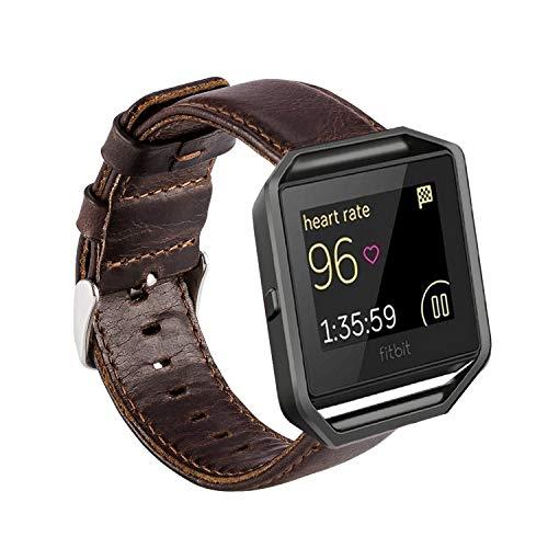MroTech Horlogeband Lederen Armband compatibel voor Fitbit Blaze Smartwatch Reserveband Leer Kijk Horloge Watch Band Polsband Wisselarmband Horlogebandje Polsband-Koffie band (zonder frame)