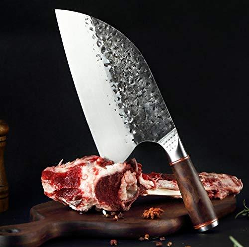 Chino Los cuchillos de cocina de acero inoxidable Cuchillo forjado hecho a mano de Sharp Cleaver HOJA ANCHA vegetales Profesional carnicero cuchillo for uso general cocina