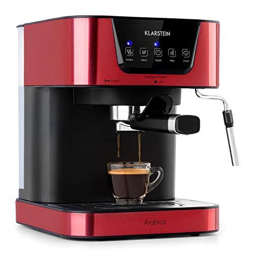 Klarstein Arabica Espressomaschine - 1050 Watt, 15 Bar, 1,5 Liter Wassertank, LED Digital-Display, abwaschbares Tropfgitter, bewegliche Aufschäumdüse, abnehmbarer Wassertank, Edelstahl, Rot