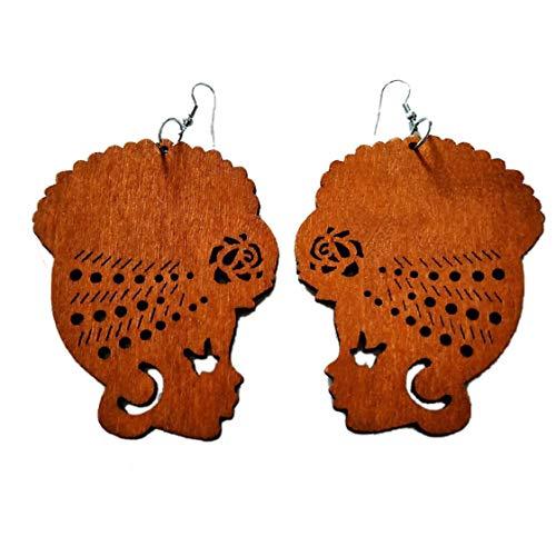 1 Paire Géométrique Boucles D'oreilles En Bois Turban Femme Crochet Pendentif Tête Africaine Boucles D'oreille Bijoux Cadeau