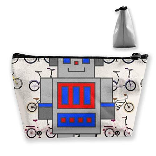 Clip Art Bicicleta Robot Bolsa de maquillaje Gran almacenamiento trapezoidal Bolsa de viaje Lavar Estuche cosmético Portalápices Cremallera impermeable