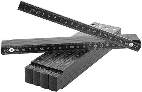 com-four® 5X Zollstock aus Kunststoff - 2 Meter Gliedermaßstab mit 10 Glieder - Meterstab metrisch in schwarz (05 Stück - Zollstock/schwarz)