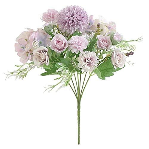 Mariée Tenant des Roses Bouquet De Mariage Plantes Décoratives Vases pour La Décoration De La Maison Accessoires Fleurs Artificielles Scrapbooking (Couleur : Violet) Chapeaux