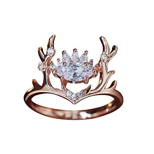 2.7 Gram Elk Antlers Simulated Diamond Rings Wedding Propose Marriage Engagement Rings for her, Jewellery Gifts for Girls Women (Gold,10)