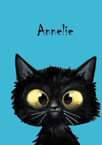 Annelie: Personalisiertes Notizbuch, DIN A5, 80 blanko Seiten mit kleiner Katze auf jeder rechten unteren Seite. Durch Vornamen auf dem Cover, eine ... Coverfinish. Über 2500 Namen bereits verf