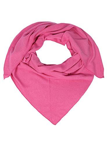 Zwillingsherz Dreieckstuch mit Kaschmir - Hochwertiger Schal im Uni Design für Damen Jungen und Mädchen - XXL Hals-Tuch und Damenschal - Strick-Waren für Sommer und Winter - 150cm x 120cm - pink