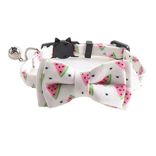 Ciujoy Katzenhalsband mit Sicherheitsverschluss und Glöckchen, Katzenhalsband Personalisiert, Verstellbar, katzenhalsband elastisch, Katzenhalsbänder mit Schleife Krawatte für Hauskatzen (Weiß&Rot)