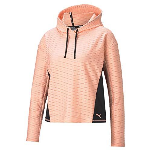 PUMA Train Flawless Pullover Hoodie Camiseta, Mujer, Elektro Peach, S