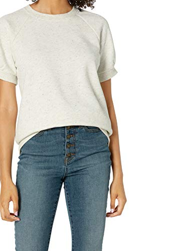 Amazon Brand - Goodthreads Women's Heritage Fleece Blouson Short-Sleeve Shirt, Natural/Multi Nep, X-Small