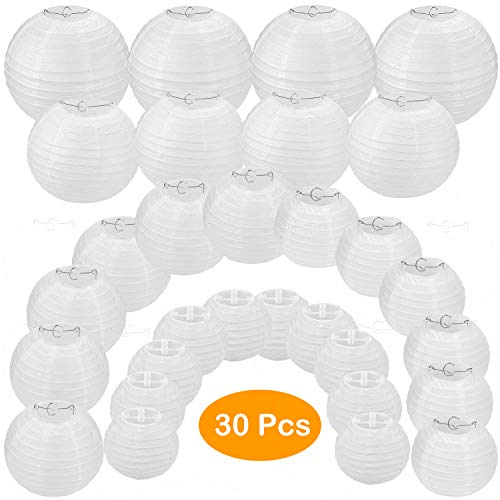 30 Pack White Paper Lanterns 4' 6' 8' 10' 12' Assorted Sizes, CBTONE White Hanging Round Lanterns for Birthday Wedding Baby Shower Festival Christmas Party Decoration - Great for Indoor or Outdoor