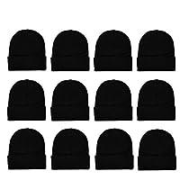 12 Pack Winter Unisex Beanie Cap Hats for Men Women, Warm Cozy Knitted Cuffed Skull Cap,Solid Black Color Wholesale 商品カテゴリー: 帽子 [並行輸入品]