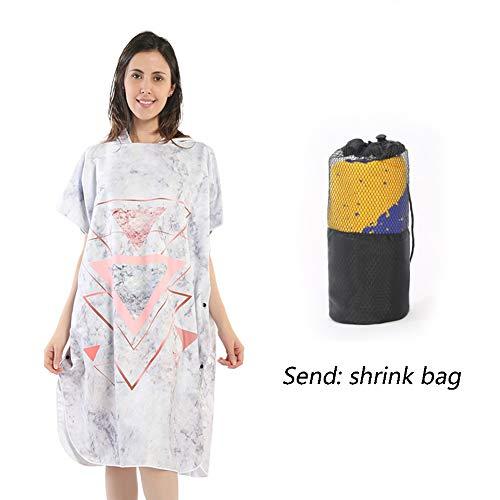 DKzyy Gedrukt Hooded Poncho handdoek veranderen gewaad, Volwassenen Draagbare Microvezel Quick Dry Absorbent Wetsuit Voor Zwemmen, Surfen en Baden (100 * 80cm,Stuur krimptas)