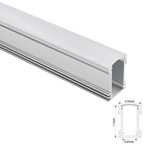 1M/3.3FT U-Shape Aluminum Channel for Surface and recessed LED Strip Installation, Slim Compact Design Aluminum Profile with Oyster White Cover, End Caps and Mounting Clips - U02