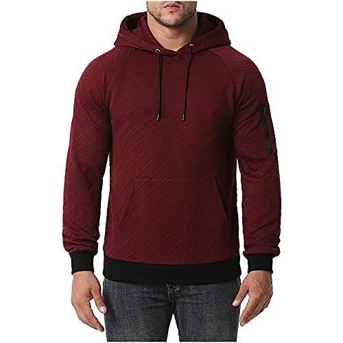 BGUK Sudadera con capucha para hombre, de manga larga, informal, de un solo color, deportiva, para otoño e invierno, Vino, XS