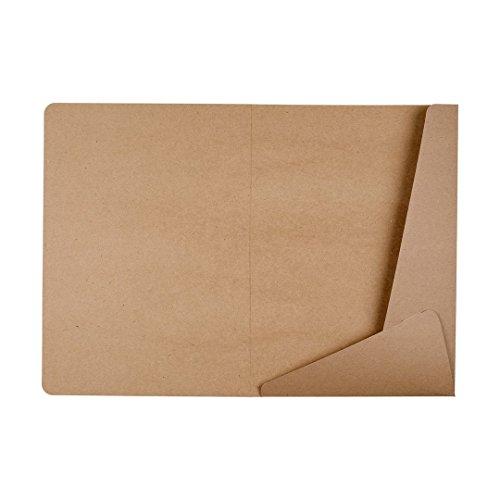 Mappe A4, zwei Seiten, zwei Klappen, Schlitz für Visitenkarte, braun, Kraftkarton, Kraftpapier, unbedruckt, Präsentationsmappe, Bewerbungsmappe, Sammelmappe - 10er Pack