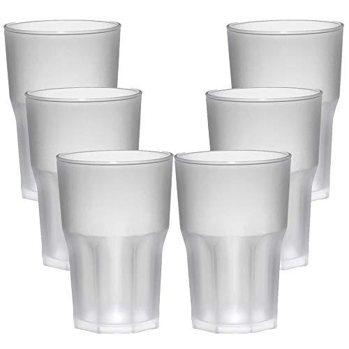 TUNDRA ICE INTERNATIONAL Set 6 Pezzi Bicchieri Cocktail in Policarbonato (Plastica Rigida) da 40Cl 100% Design Italiano, Tumbler Riutilizzabili e Lavabili in Lavastoviglie, Colore Trasparente Satinato
