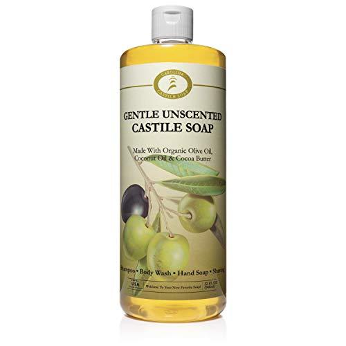 Unscented Castile Soap Liquid - 32 oz Vegan & Pure Organic Soap - Carolina Castile Soap - Concentrated Non Drying All Natural Formula Good for Sensitive Skin