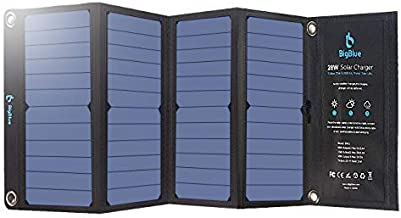 BigBlue 3 USB Ports 28W Solar Charger, 5V Foldable Waterproof Outdoor Solar Battery Charger with SunPower Solar Panel for iPhone 8/X/7/6s, iPad Air 2/Mini, Samsung Galaxy LG Cellphones and More