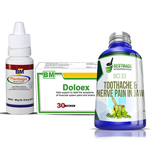 Dental Natural Pain Relief Bundle Pack - Plantago Dental Lotion 15mL - Toothache & Nerve Pain in Jaw Bio23 - Natural Pain Relief Tablets by DOLOEX