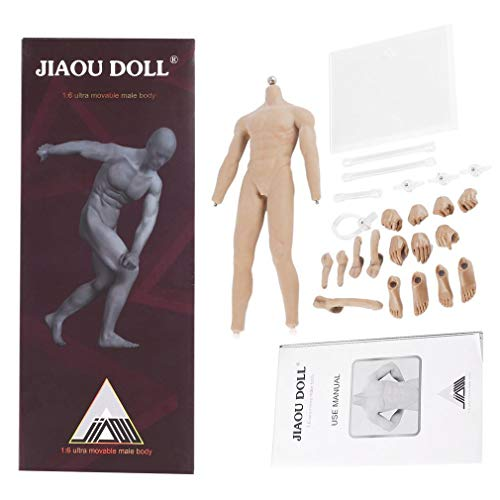 JIAOU DOLL 1/6 Scale Super Flexible Seamless Muscular Male Body, 12in Stainless Steel Skeleton Action Figure, Ordinary Complexion
