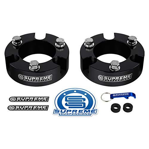 """Supreme Suspensions - Front Leveling Kit for 1999-2006 Toyota Tundra 3"""" Front Aircraft Billet Aluminum Strut Spacers 2WD 4WD (Black)"""