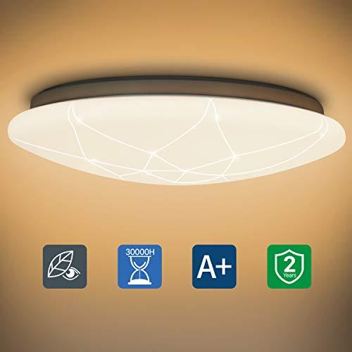 LED Deckenleuchte, 15W Modern Deckenlampe 1500LM 4000K für Flur/Keller/Schlafzimmer/Küche/Garage, Weiß Rund 29cm