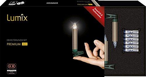 Krinner LUMIX Premium Mini, kabellose LED-Mini-Christbaumkerzen, Erweiterungs-Set mit 6 Kerzen, Flackermodus, Cashmere, Art. 75455