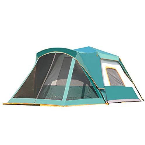 ZHANGJN 5-8 Personen Camping Zelt, Dome Instant Cabana wasserdicht Schatten Baldachin Double Layer Outdoor für Sport Wandern Reisen Familienurlaub-Green