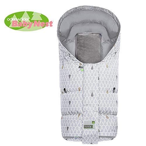 Odenwälder Daunen-Fußsack Donny -Go Cool Grey 98 cm, winddicht und wasserabweisend, ADA®-Boden