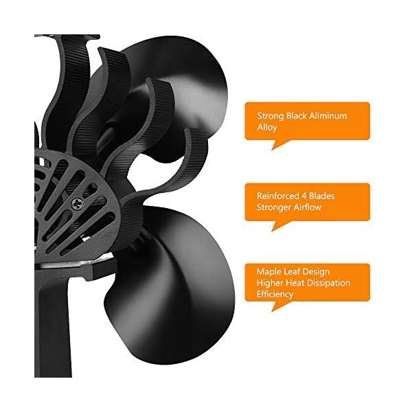 Ventilador de Estufa Leña Tubo, Ventilador para Estufa Leña Ecofan/Estufa/Leña/Ventilador de Chimenea Pared, 4 Aspas…