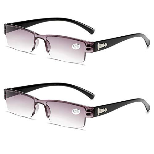 JTeam Computer Brille 2 Paar Lesebrille For Männer Und Frauen Farbige Harzlinsen Gute Qualität Gläser Mode Design (Color : Black, Size : 3.50X)