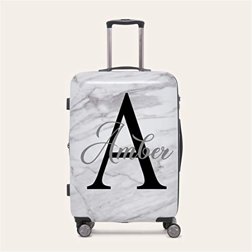 Personalised Initial Name 2 Suitcase Luggage Sticker 20 Colours to Choose from (Medium 35cm Width, Black)