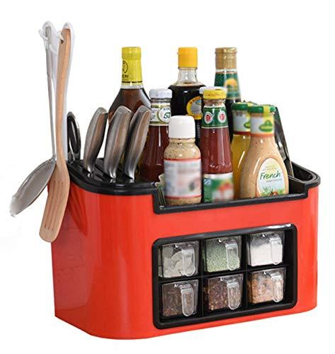 EWSDF Especiero Multifuncional de Cocina, Cuchillo, Tenedor, Cuchara, Tijeras de Cocina, Estante de Almacenamiento para Tablas de Cortar pequeñas Rojo