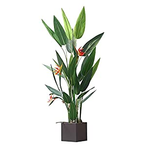 """LHHH Realistic Faux Plants 4ft Artificial Flowers Bird of Paradise 122cm Greenery Plants Indoor Outside Home Garden Office Verandah Wedding Decorations 48"""""""