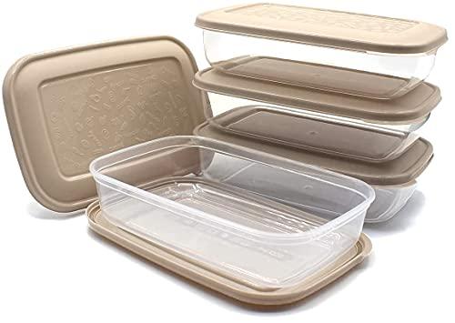 Unishop Set de 5 Recipientes de Plástico para Comida, Fiambreras Sin BPA, Táper Apto para Microondas, Congelador y Lavavajillas, de Colores Pastel (Marrón, 800ml)