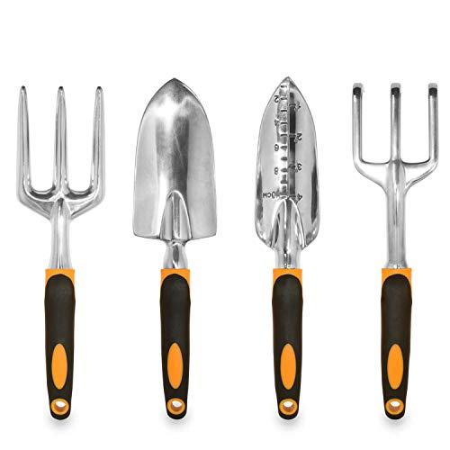 GardenHOME 7 Piece All-in-One Garden Tool Set - 5 Sturdy Stainless Steel Tools, Heavy Duty...
