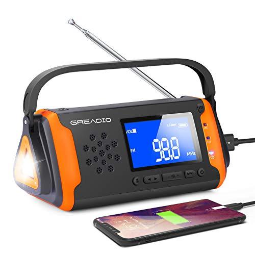 Solar Radio, Emergency AM/FM Crank Wind Up Radio with Bright Flashlight,...