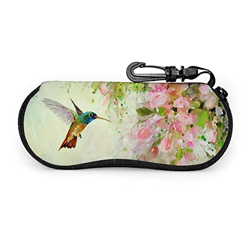 Fundas de Gafas Lovely Hummingbird And Pink Flowers Oil Painting Estuche blando para gafas de sol con cremallera de neopreno portátil ultraligero con mosquetón
