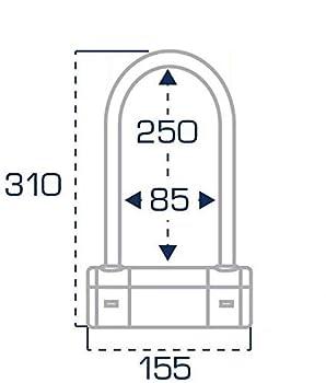 AUVRAY Antivol Norme SRA U Black Edition pour Moto et Scooter - Anse Ø18mm - Dimensions internes 85x250 mm